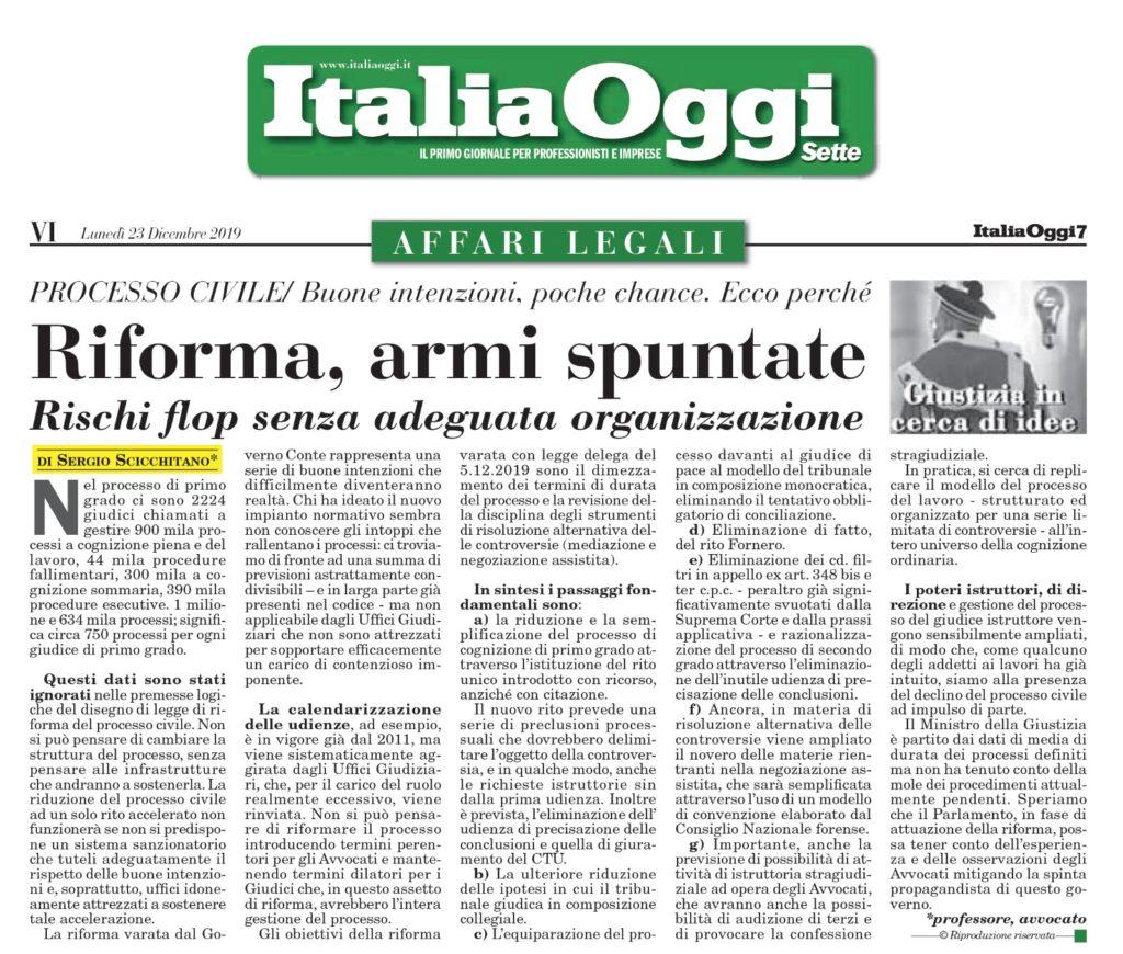 riforma processo civile italia oggi